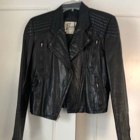 Bermans 80s Leather Motorcycle Jacket Punk